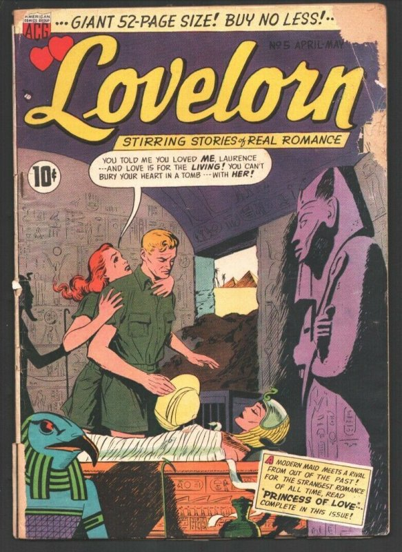 Lovelorn #5 1950-ACG-Attractive female Egyptian Mummy in Pyramid Tomb cover-O...