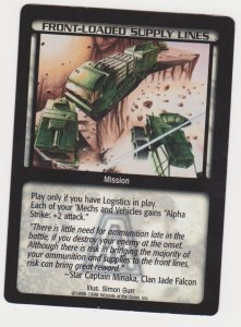 1998 Battletech Arsenal Card Front-Loaded Supply Lines