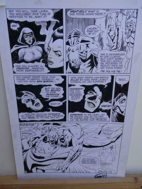 GREG HORN original art, FEMFORCE HOUSE OF HORROR #1 pg 18, Signed, Fight, 1989
