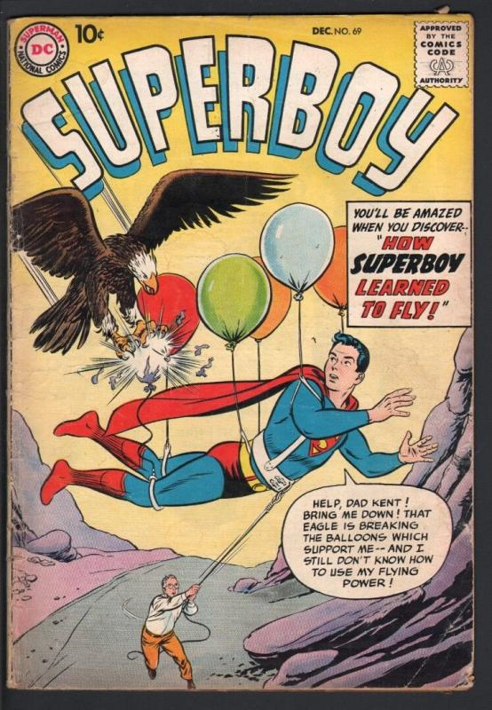 SUPERBOY #69-1958-eagle cover-DC SILVER AGE-G plus G+