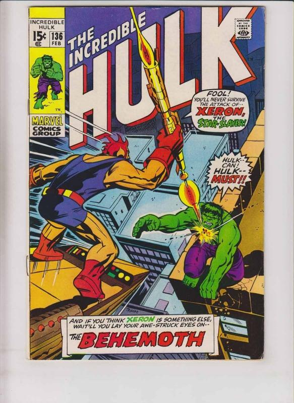 Incredible Hulk #136 FN roy thomas - herb trimpe - xeron the star-slayer 1971