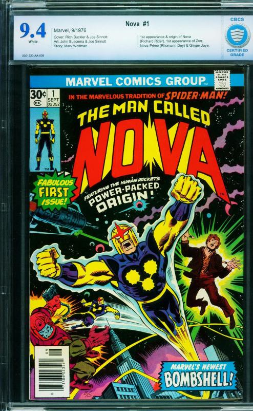 NOVA #1 cbcs 9.4 white pages First Nova Guardians of the Galaxy 1976 Marvel