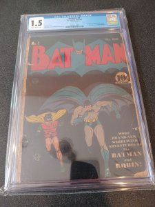 ​BATMAN #3 CGC 1.5 1ST CATWOMAN  IN COSTUME. 1ST APPEARANCE OF PUPPET MASTER