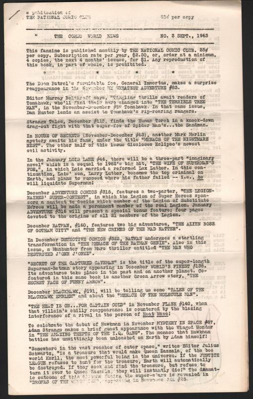 Comic World News #3 1963-very early newszine-Hawkman-limited circulation-FN-