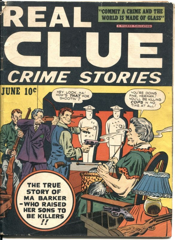 REAL CLUE CRIME STORIES VOL 2 #4-1947-FIRST ISSUE-SIMON & KIRBY-MA BARKER-VIOLEN