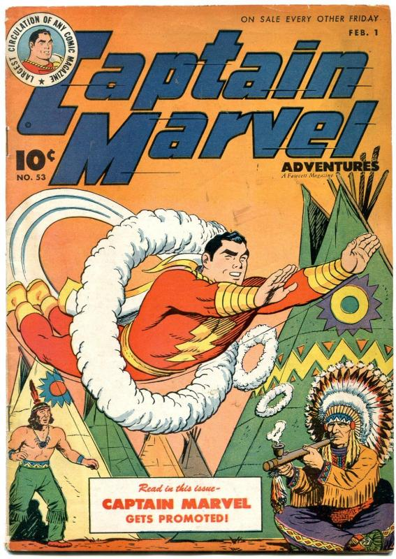 Captain Marvel Adventures #53 1946- Peace Pipe cover- Golden Age FN-