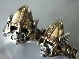 Viking Winged Skull ring Sterling Silver