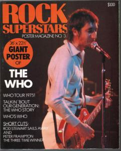 Rock Superstars Poster Magazine #3 1975-The Who-giant poster-pix-info-FN/VF
