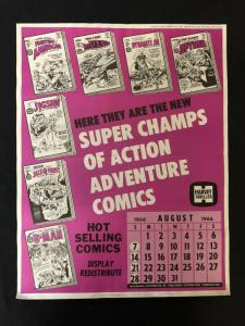 Harvey Comics Action Comic Line Up Promo Sales Calendar Poster -August 1966