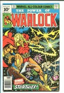 WARLOCK #14 1976-MARVEL-UK VARIANT-JIM STARLIN ART-10P COVER PRICE-vg