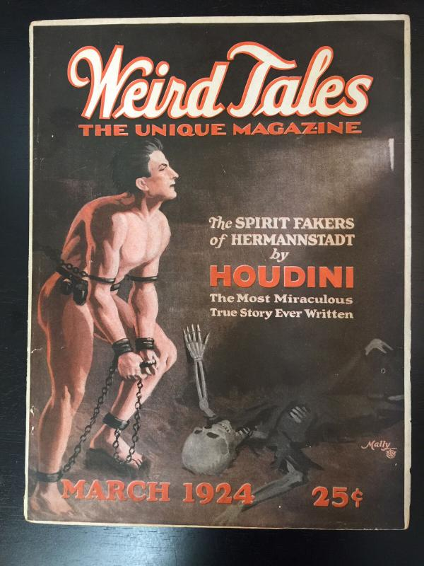 Weird Tales March 1924-Pulp mag-Houdini-Lovecraft-Poe