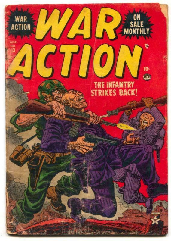 War Action #13 1953-Atlas-kill the commies-a-bomb panel FAIR
