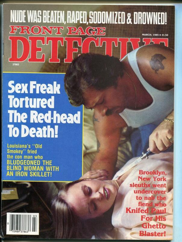 Front Page Detective Magazine March 1985- True Crime- FN
