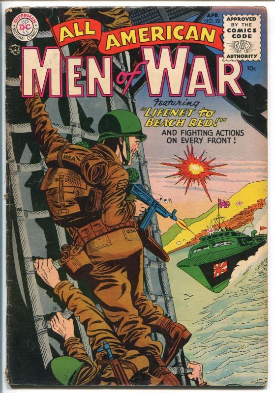 ALL AMERICAN MEN OF WAR #20-1955-WWII-DC-SILVER AGE-RUSS HEATH-JOE KUBERT-vg