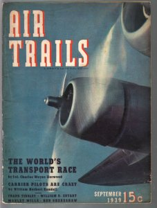 Air Trails 9/1939-aviation photos and features-pulp thrills-VG/FN