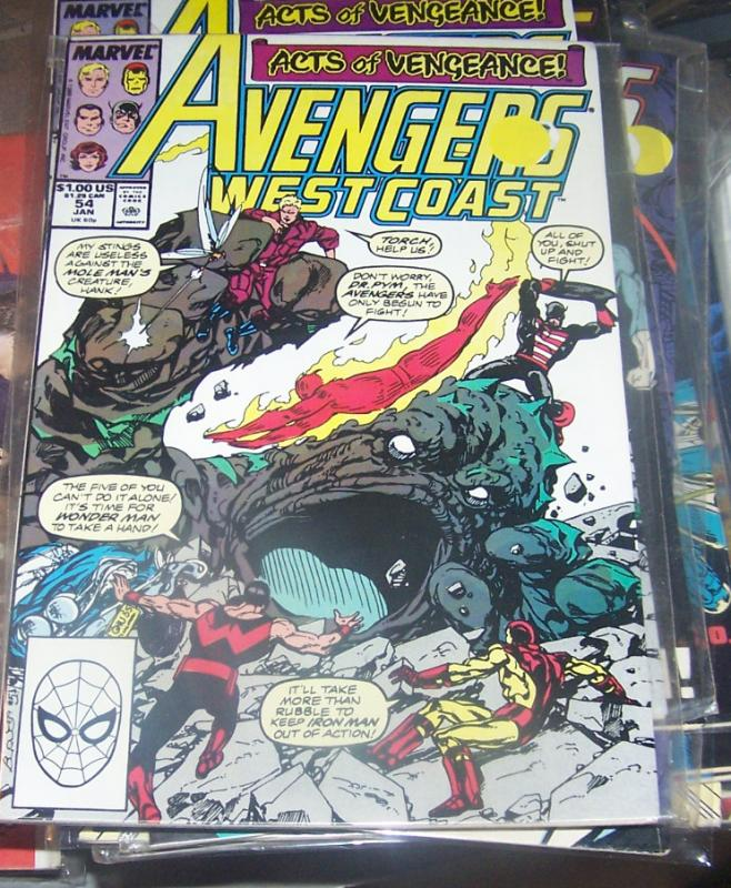 west coast avengers  # 54 JAN 1990  ACTS OF VENGEANCE MOLE MAN MONSTERS