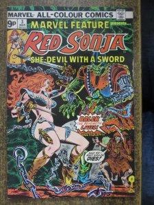 MARVEL FEATURE (3/1976 RED SONJA) 3 FINE- UK EDITION COMICS BOOK