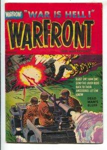 Warfront #18 1953-Harvey-bazooka blasts commie tank cover-bloody splash panel-FN