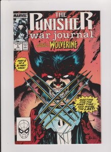 THE PUNISHER WAR JOURNAL #6 NM JIM LEE ART 1989 MARVEL PUNISHER VS WOLVERINE