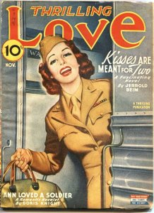 THRILLING LOVE-NOV 1945-MILITARY AND ROMANCE PULP STORIES-APPEALING COVER ART