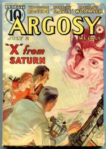 Argosy Pulp July 2 1938- X From Saturn- Belarksi cover VF