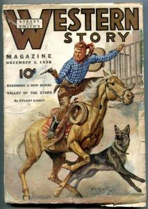 Western Story Pulp December 3 1938- German Shepherd cover- Valley of the Stars