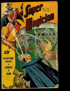 Super Magician Comics Vol. # 4 # 1 FN 1945 Golden Age Comic Book Voodoo NE3
