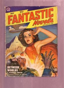 FANTASTIC NOVELS JULY 1949-PULP-GOOD GIRL ART-HORROR VG