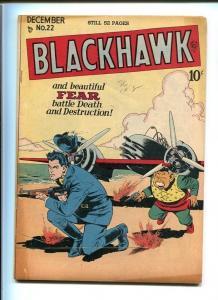 BLACKHAWK COMICS #22-QUALITY-1948-REED CRANDALL ART-TOMMY GUN COVER-VF minus VF