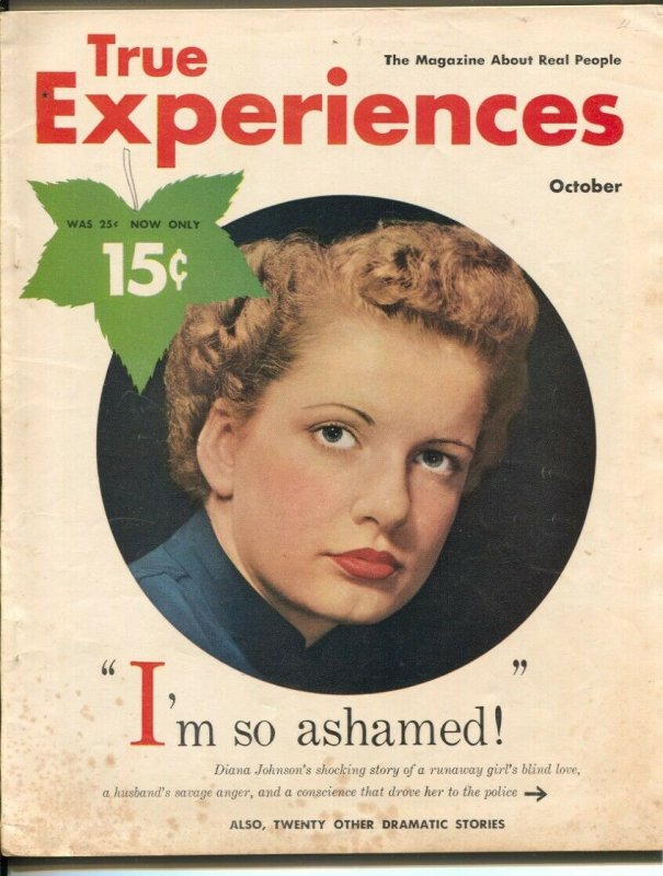True Experiences 10/1950-MacFadden-exploitation-scandal-drug use-VG