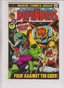 DEFENDERS #3, FN, Hulk, Dr Strange, Silver Surfer, 1972, Sub-Mariner
