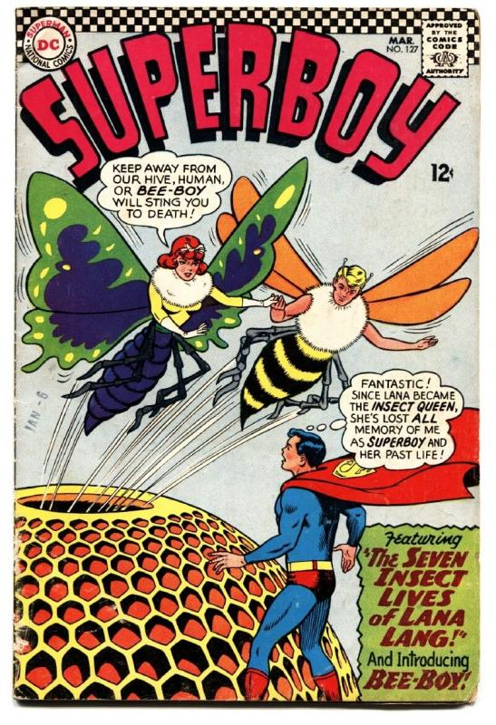 SUPERBOY 127 Comic Book 1966 DC COMIC WILD INSECT COVER LANA LANG