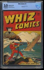 Whiz Comics #5 CBCS VG- 3.5 Captain Marvel WWII Action Cover!