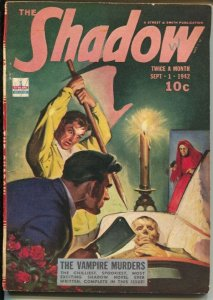 The Shadow 9/1/1942-Vampire Murders-pulp thrills-FN+