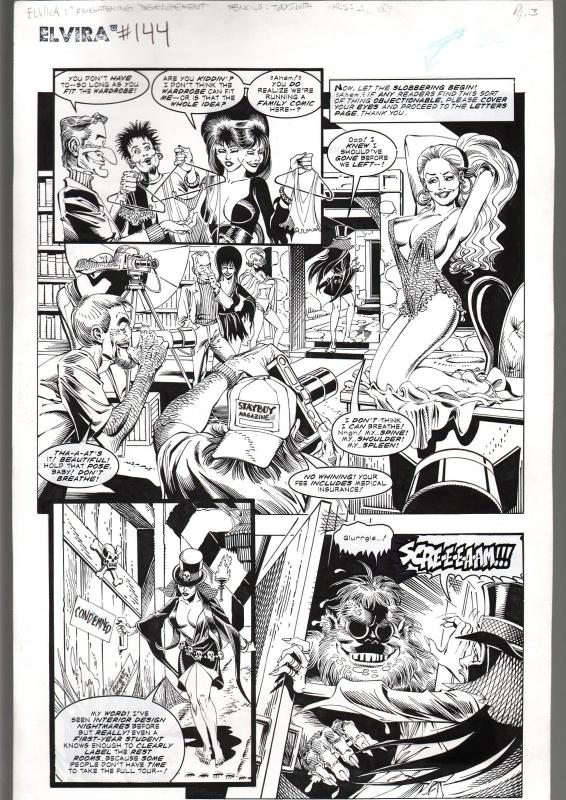 TOD SMITH-ELVIRA #144-GIRLS FROM THE DARK SIDE -ORIG ART PG 3-QUEEN 'B' FN