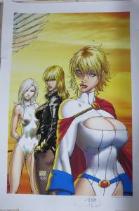 SIGNED Peter Stigerwald Michael Turner art Print!13x19 Black Canary/PowerGirl
