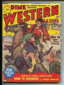 Dime Western-1/1952-Popular-A. Leslie Ross hanging rescue cover-Pulp thrills-VG