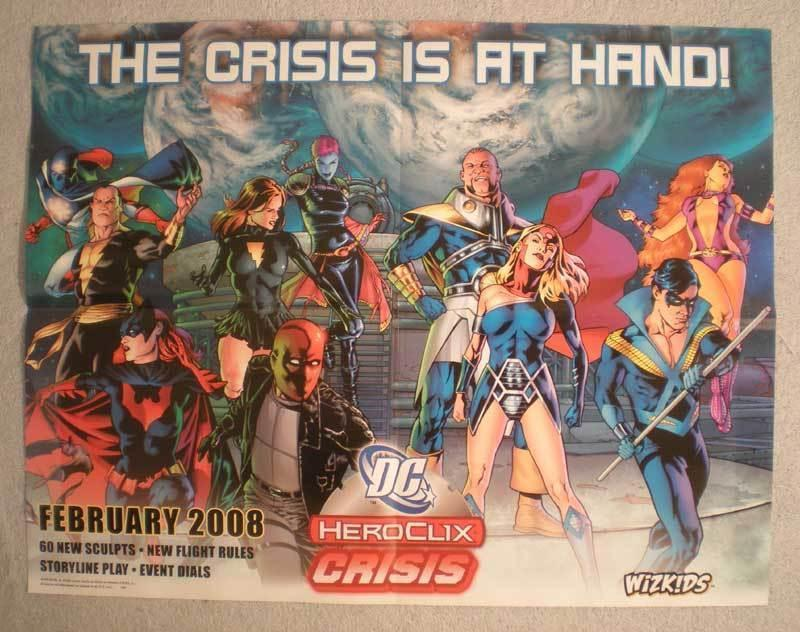 DC HEROCLIX CRISIS Promo Poster, 21x 17, 2008, Unused, more in our store