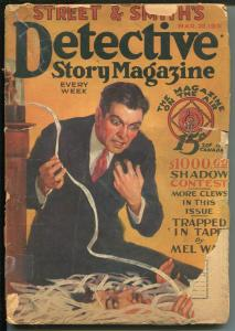 DETECTIVE STORY 3/28/1931-THE SHADOW CONTEST-TICKER TAPE-CRIME PULP-good
