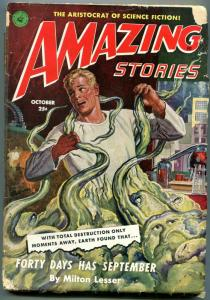 Amazing Stories Pulp October 1951- Forty Days Have September- Monster cover FAIR