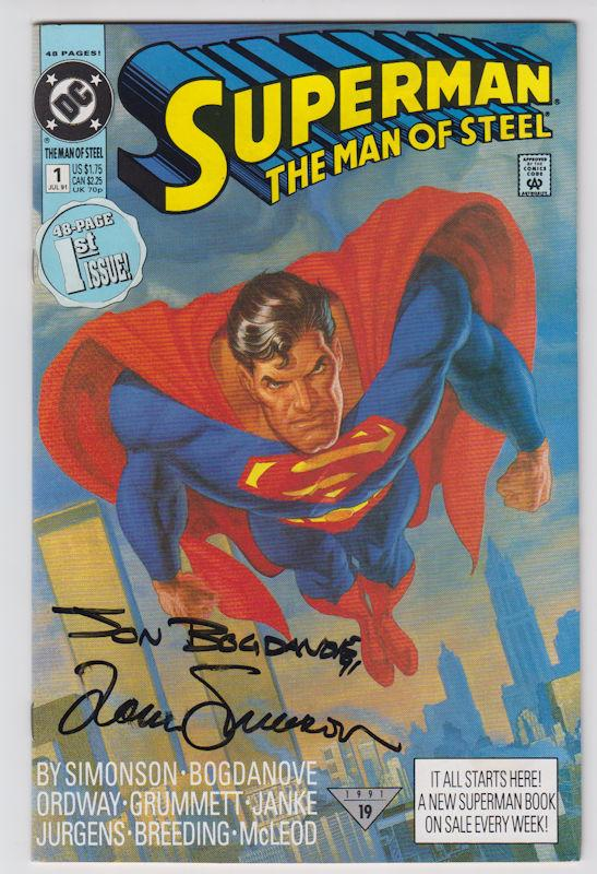 Superman: The Man of Steel #1 NM+ Autograph by Jon Bogdanove Louise Simonson COA