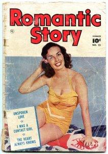 ROMANTIC STORY #22 1953- SWIMSUIT PHOTO COVER FAWCETT FR/G