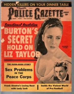 Police Gazette 1/1964-Liz Taylor-Richard Burton-Frank Sinatra-exploitation-G