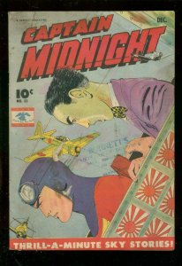 CAPTAIN MIDNIGHT #35 1945-WW II AVIATION BATTLE COVER VG-