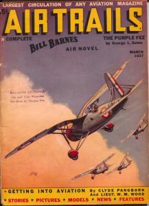 Air Trails 3/1937-Bill Barnes-hero pulp-George L Eaton-Tinsley cover-VG