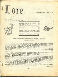 Lore #7 1966-index if sci-fi & comic book writer pseudonyms-historic-rare-VG