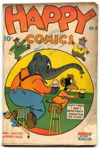 Happy Comics #9 1945- Golden Age Funny Animals- Owl & Pussycat