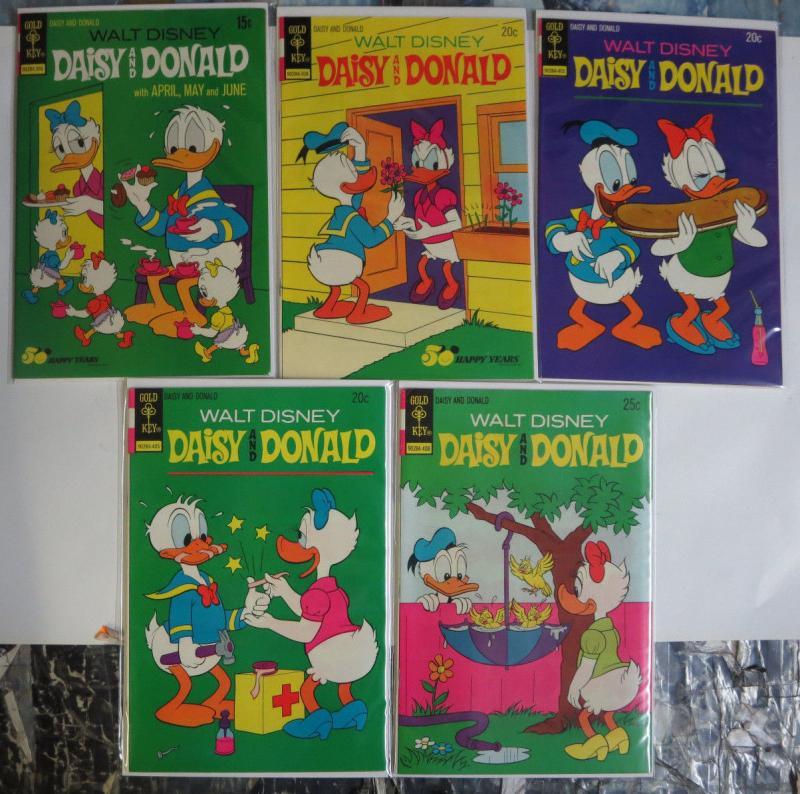 Daisy and Donald Duck Gold Key Lot of 5 (1973 #1, 2, 4-6) Romance Cartoon Comedy