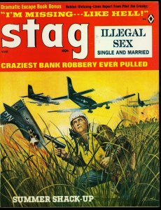 Stag Pulp Magazine March 1966- Ruth Rittenberg- Bank Robbery VG