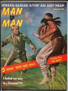 Man To Man 2/1958-pulp-Lisa London cheesecake- Joanne Berges-knife fight-FN